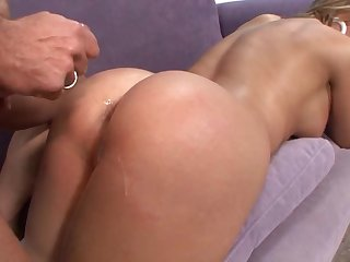 Bald guy makes naughty Brianna Beach moan by fucking her on the couch