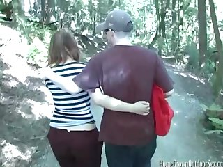Amateur couple goes for a hike and fucks in the woods