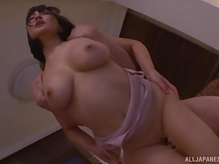 Busty Henyuu Arisa has her big tits covered in warm sperm